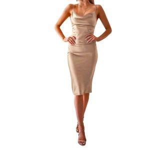Women's Champagne Satin Bodycon Dress Sz XL